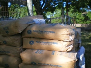 Bags of oyster shell flour and gypsum