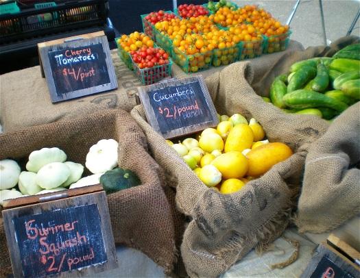 Late summer crops at the farmers' market