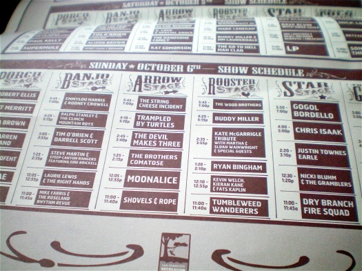 Hardly Strictly Bluegrass schedule