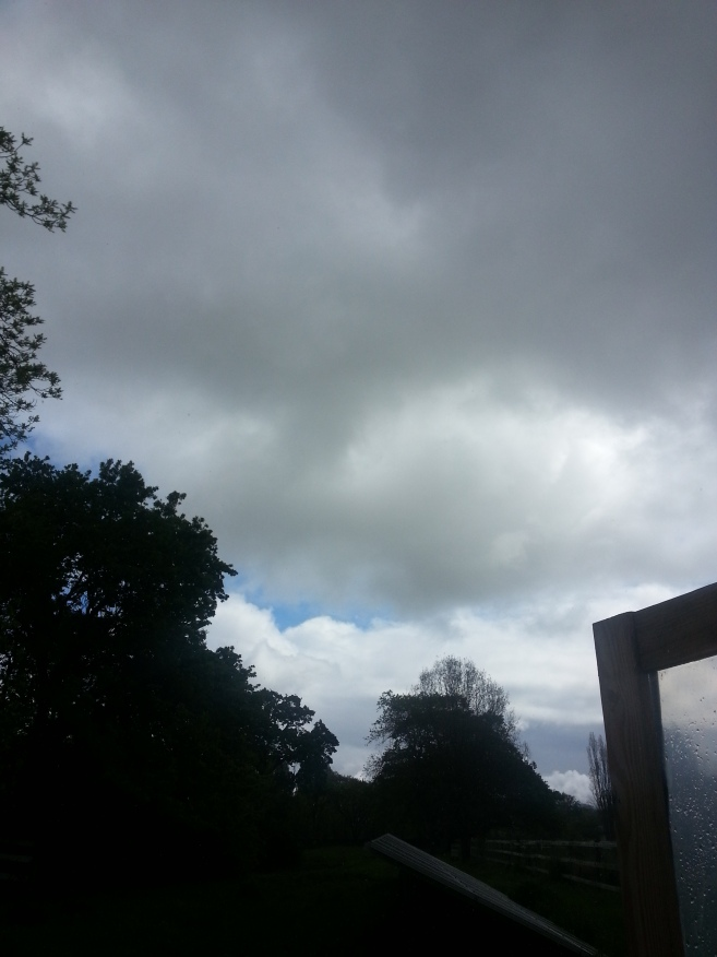 Dark storm clouds outside of the greenhouse