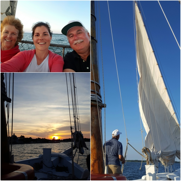 On the Rebecca T. Ruark skipjack with my parents